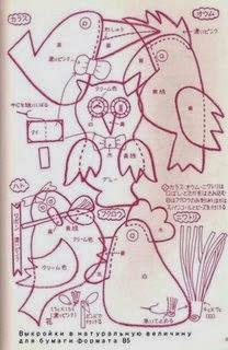Moldes pássaros de feltro