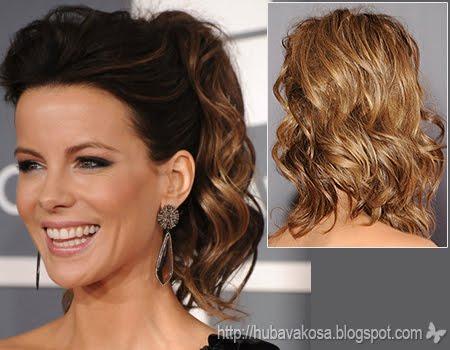 Кейт Бекинсейл прическа с вдигната коса Грами 2012
