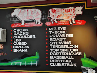 Hand painted menu boards for butcher by dobell designs traditional signage united states of america