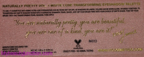 IT Cosmetics Naturally Pretty Matte Transforming Eyeshadow Palette review, swatches, photos