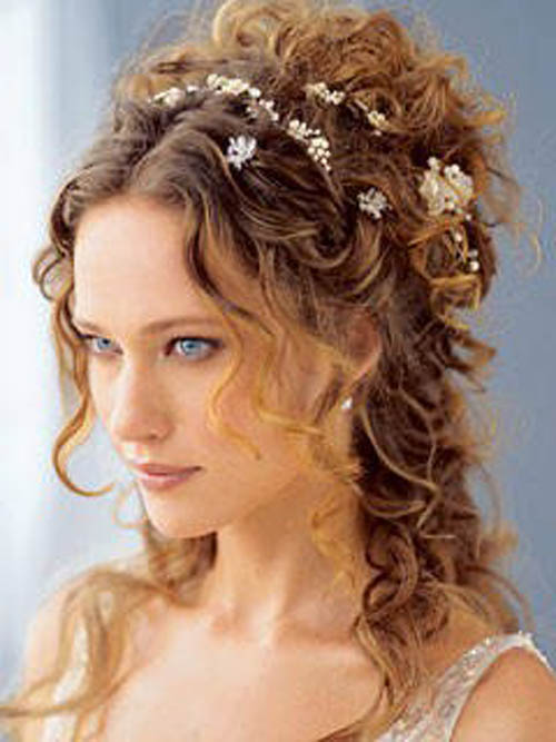 Curly hairstyle updo, best suited for prom and wedding.