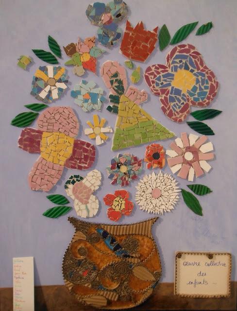 panneau décoratif en mosaïque réalisé par des enfants élèves de séverine peugniez mimi vermicelle