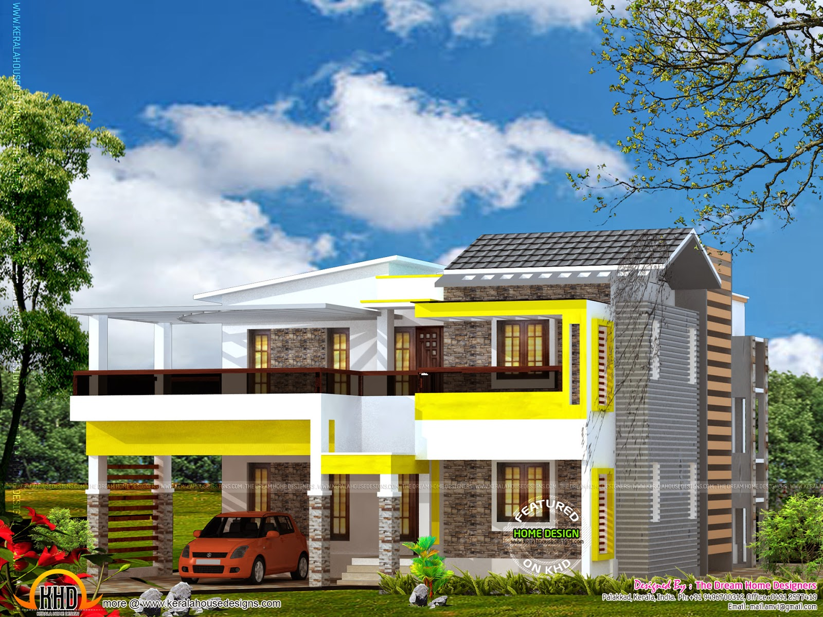 House plan with elevation kerala home design and floor plans for Elevation of kerala homes