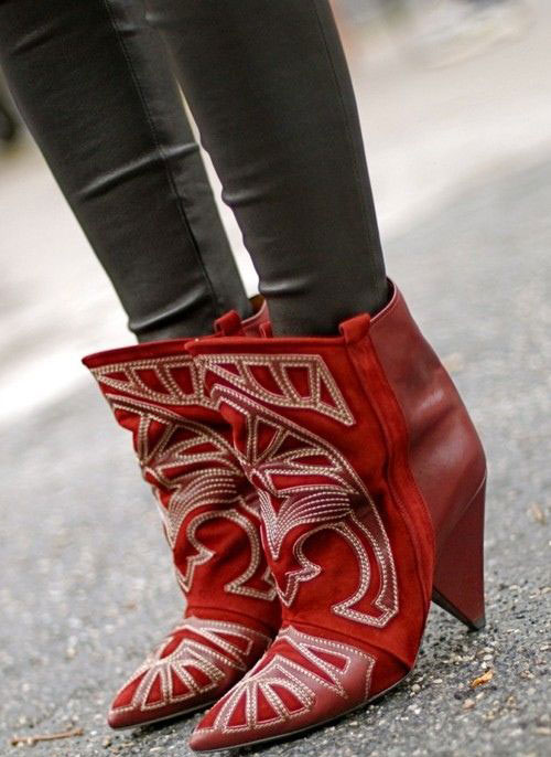 Isabel Marant Berry Embroidered Boots in Red