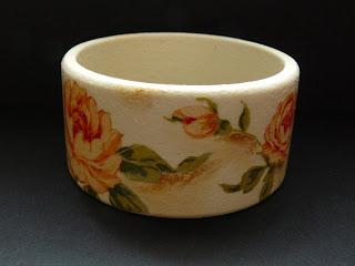 biżuteria decoupage - kremowe kwiaty (bransoleta)
