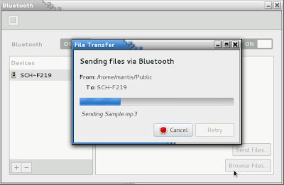 openSUSE 12.2 MANTIS GNOME 3.4.2 Bluetooth Send Files to phone progress bar