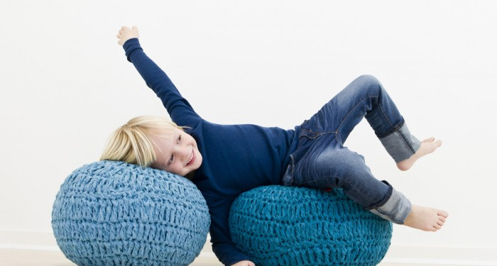 sebra pouf  for kids blue