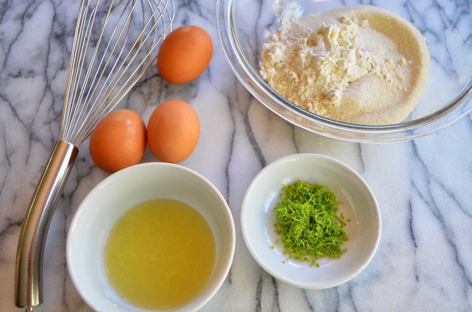 Key lime tart, custard ingredients