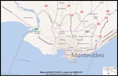 Mapa de MONTEVIDEO, capital de URUGUAY, (bing)