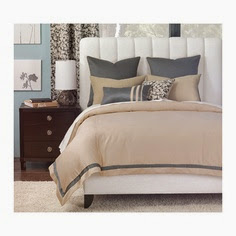 grey and beige bedding in bedroom