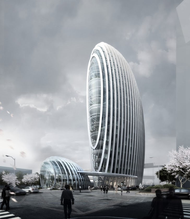 Impressive Modern Office Tower by Aedas from the street
