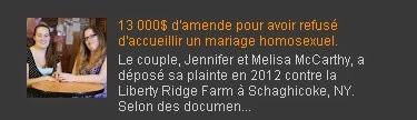 13 000$ d'amende pour avoir refusé d'accueillir un mariage homosexuel.