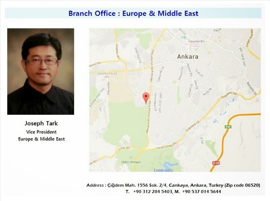 Turkey Branch Office : Europe & Middle East   (Please click map below !!)