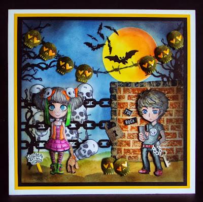 Bats skulls chain stamps teenage character stamps
