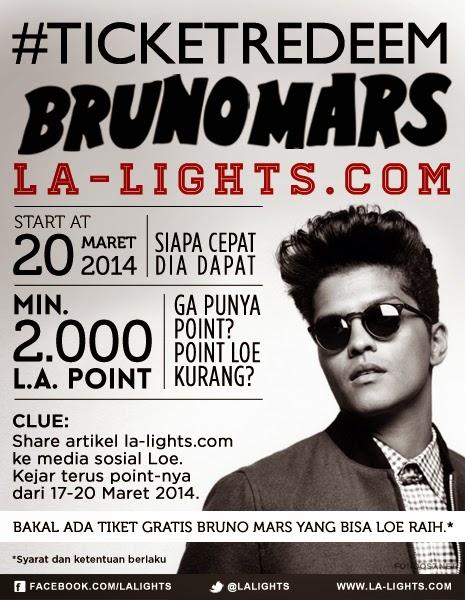 Konser Bruno Mars Dapat Tiket Gratis Dari La-Light