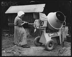 nun making cement