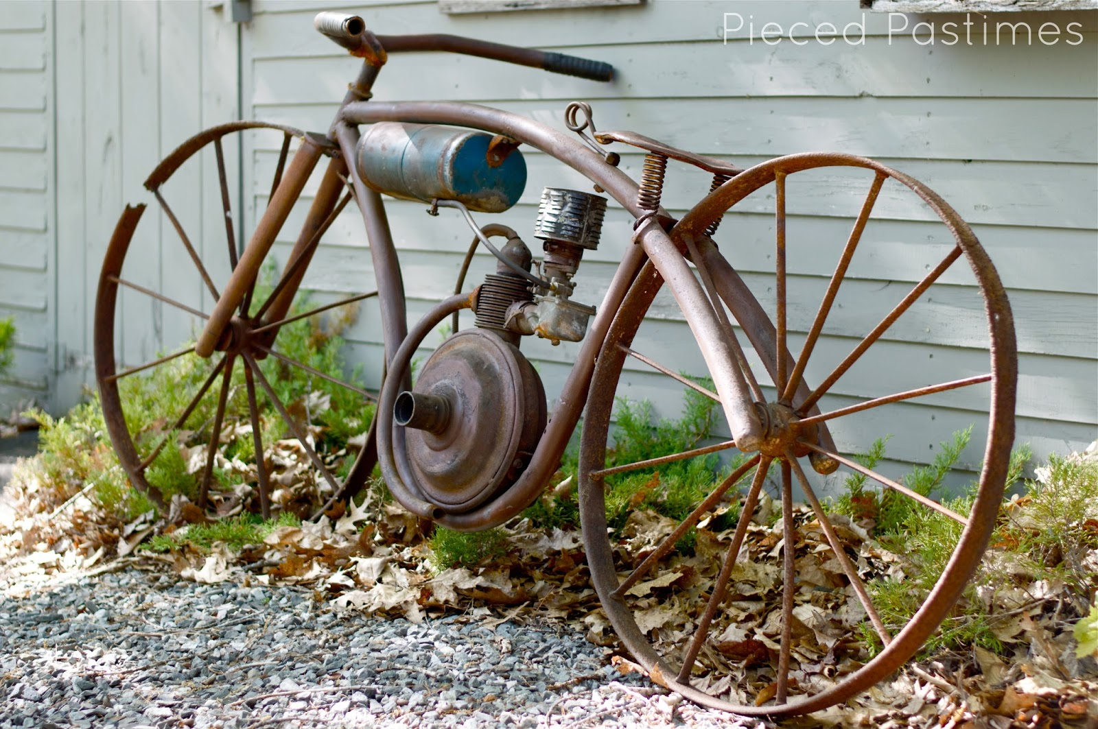 Homemade garden art - Board Track Racer Yard Art