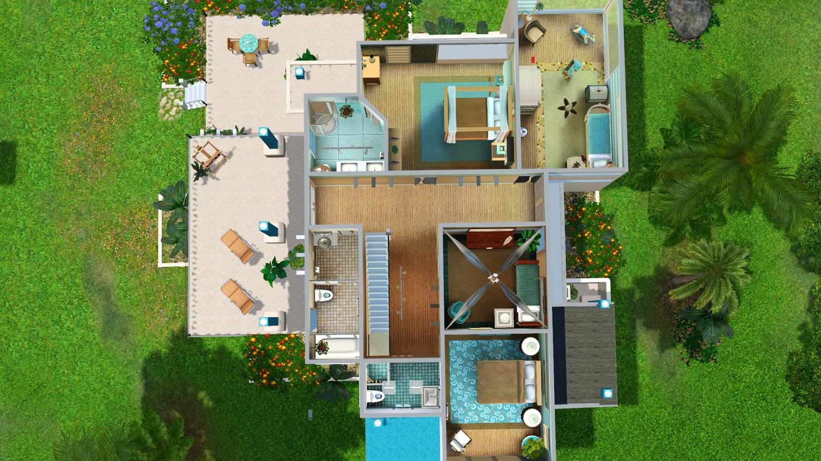 Simply ruthless turquoise bay modern for Sims 4 house plans