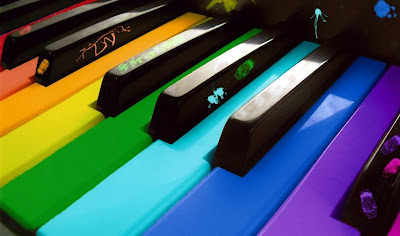 Purple, blue, green, yellow, orange, red, black piano wallpapers 2013-2014