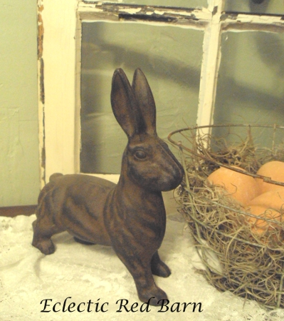Eclectic Red Barn: Cast iron bunny and wire basket
