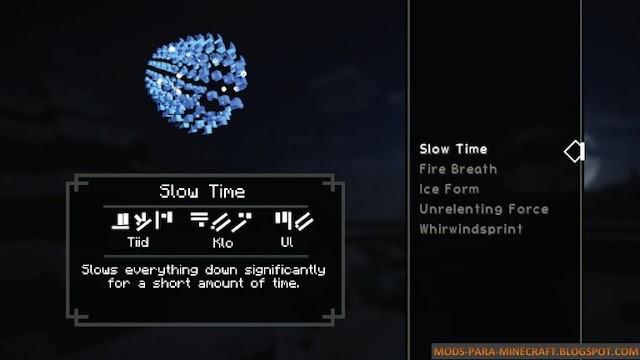 Slow Time en Minecraft 1.7.10 gracias al Mod Dragon Shouts