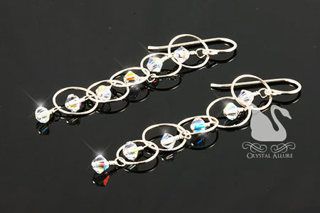 Crystal Ice Champagne Bubbles Earrings (E116)
