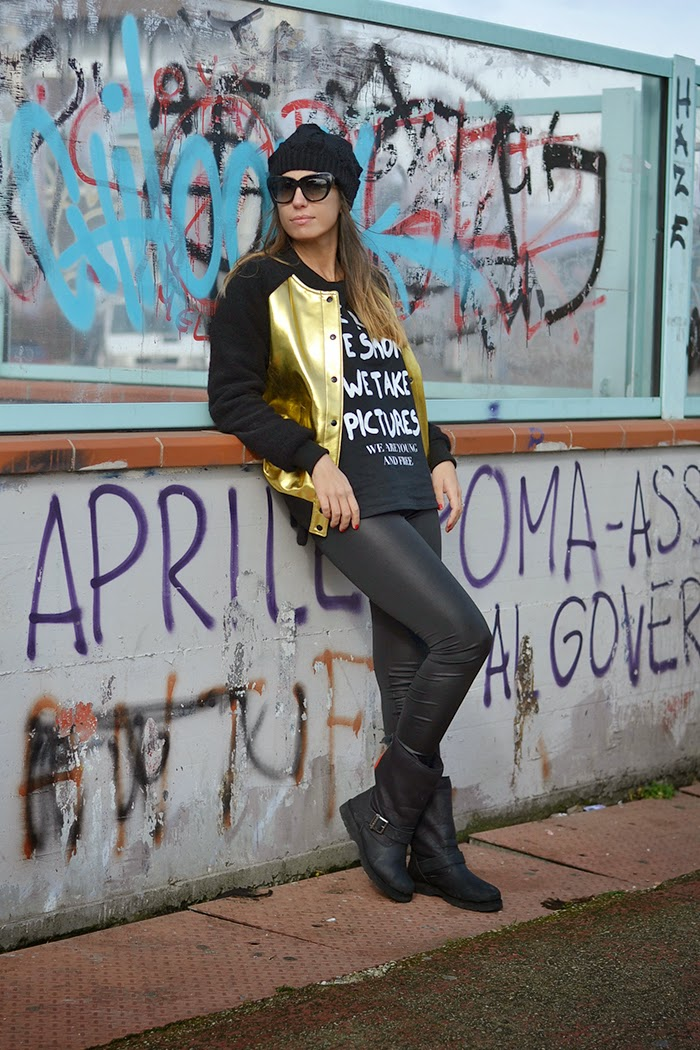 black gold street style outfit