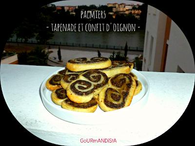 image Palmiers à la tapenade d'olives noires et confit d'oignon