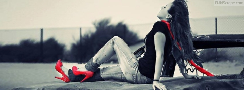 red and black stylish girl facebook cover facebook