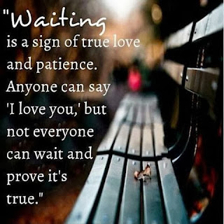 waiting is a sign of true love and patience. Anyone can say I Love You but not everyone can wait and prove its true.