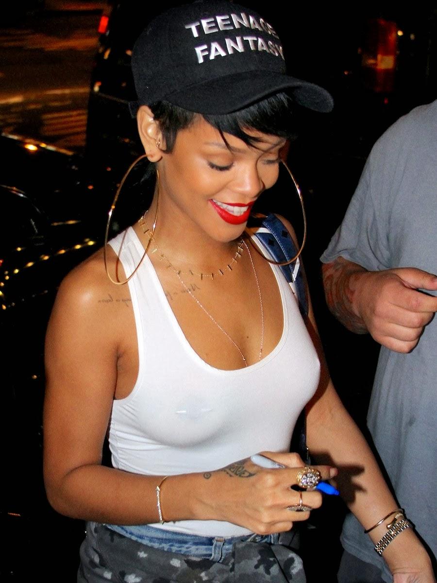 Rihanna Braless see through in NYC