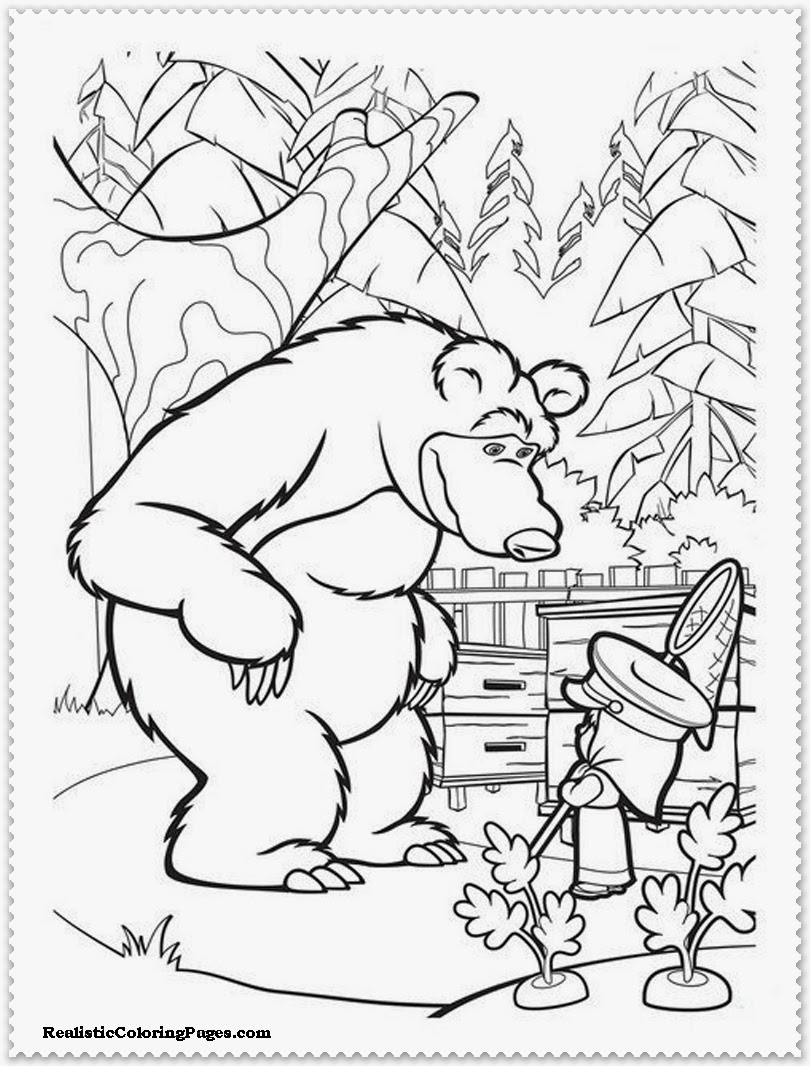 masha and the bear picture to color