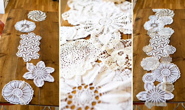 quickie tutorial doily table runner.