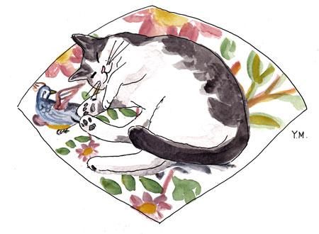 happy cat by Yukié Matsushita