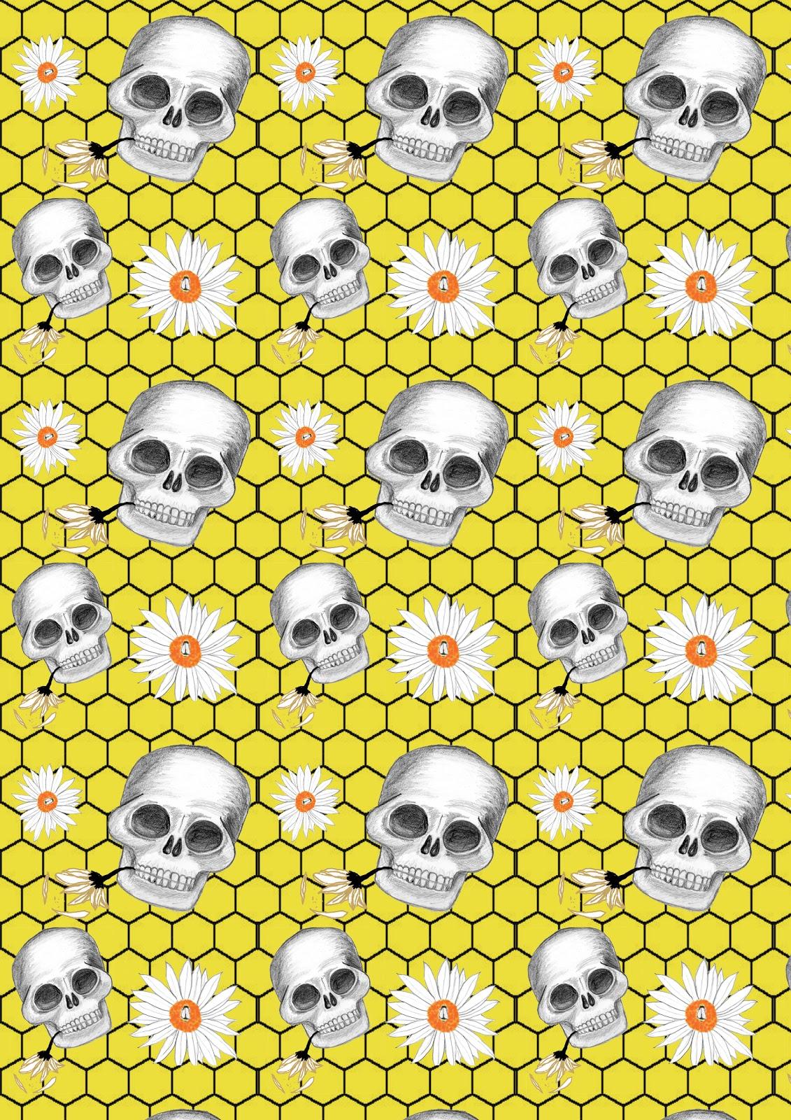 Michelle s Textile Blog Coloured Skull and flower design