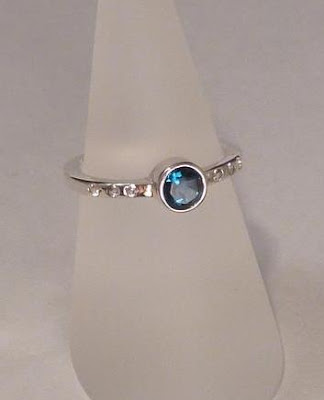 Handcrafted Art Jewelry - Sterling Silver and Topaz  Ring