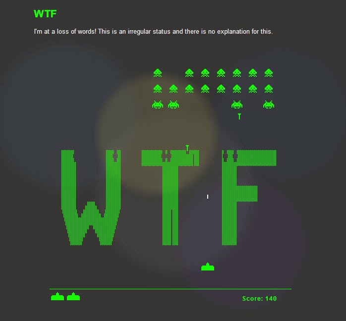 Pantalla de Error 404 con Space Invaders jugable