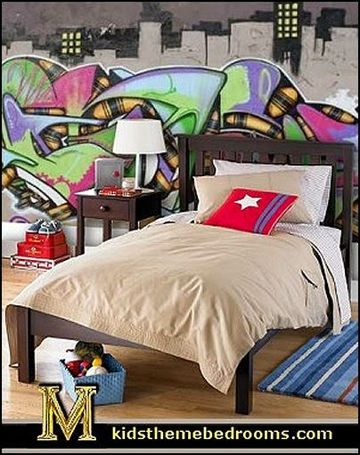 Decorating theme bedrooms maries manor graffiti wall murals urban style punk theme bedroom - Skateboard themed bedroom ...