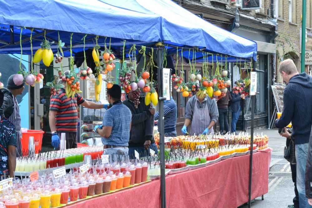 juice stand brick lane london market
