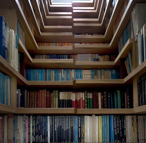 Econoloft stairs to loft conversion and away to store your books a skylight above illuminates the staircase making it easy to see all the titles and the shape of each stair allows the book browser to take a seat while solutioingenieria Images