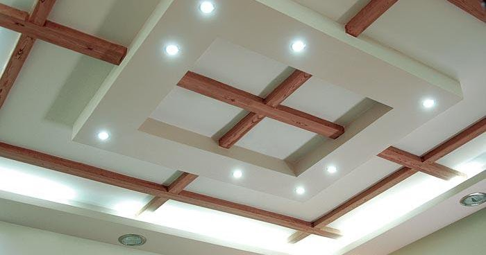False Ceiling Designs For Living Room From Gypsum And Wood