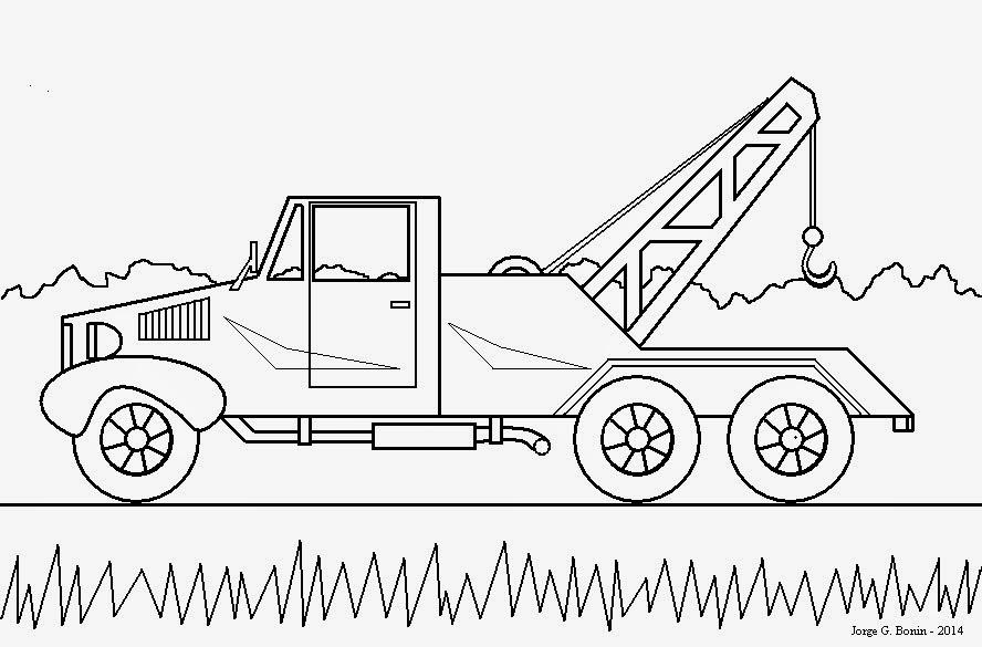 arte no paint desenho para colorir caminhão guincho
