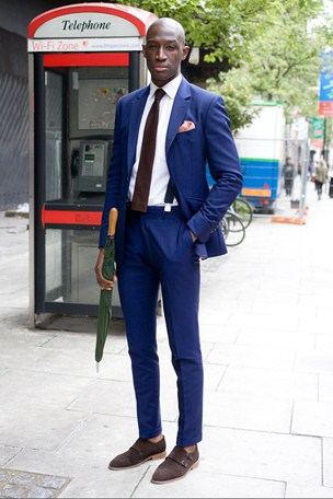 street style london collections men menswear peacock blue