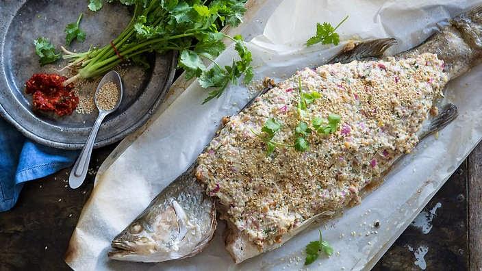 Whole Baked Labna Barramundi With Dukkah Recipe