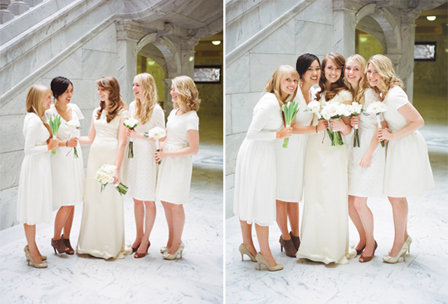 elegant cream bridesmaids 