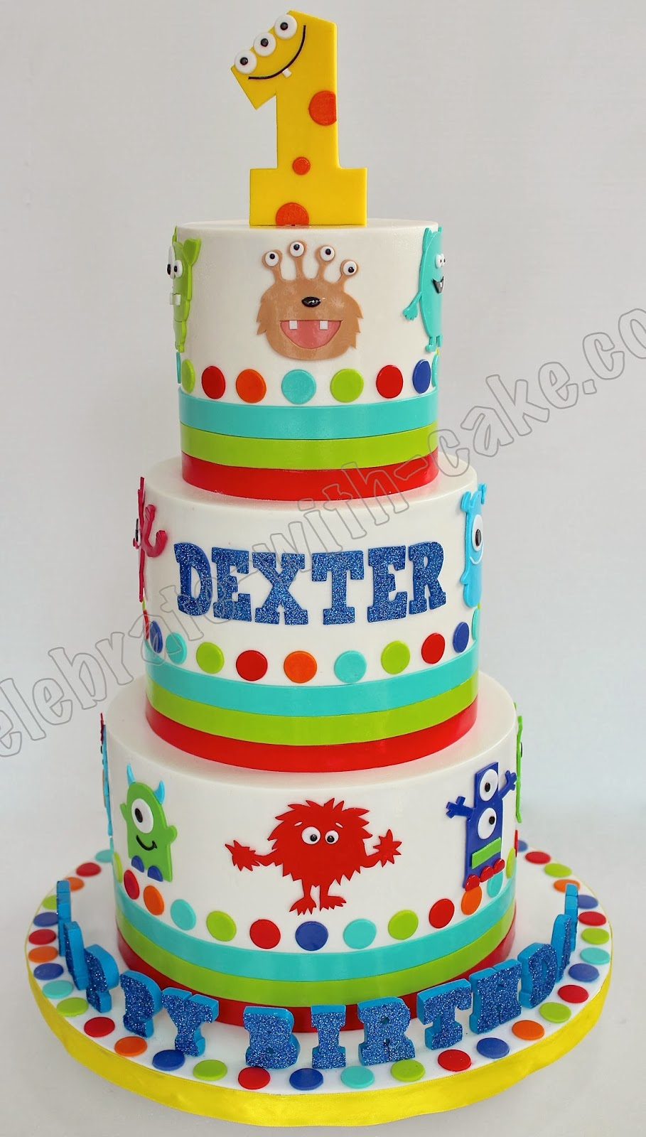 Celebrate With Cake Cute Monster 3 Tier 1st Birthday