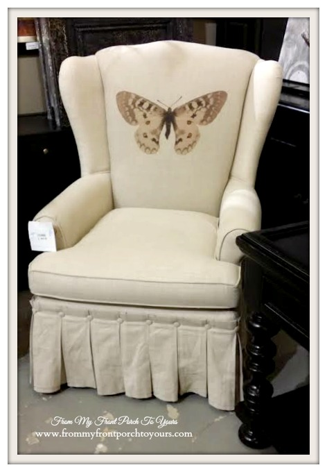 Laurie's Home Furnishings- Butterfly Graphic Skirted Wingback Chair-From My Front Porch To Yours