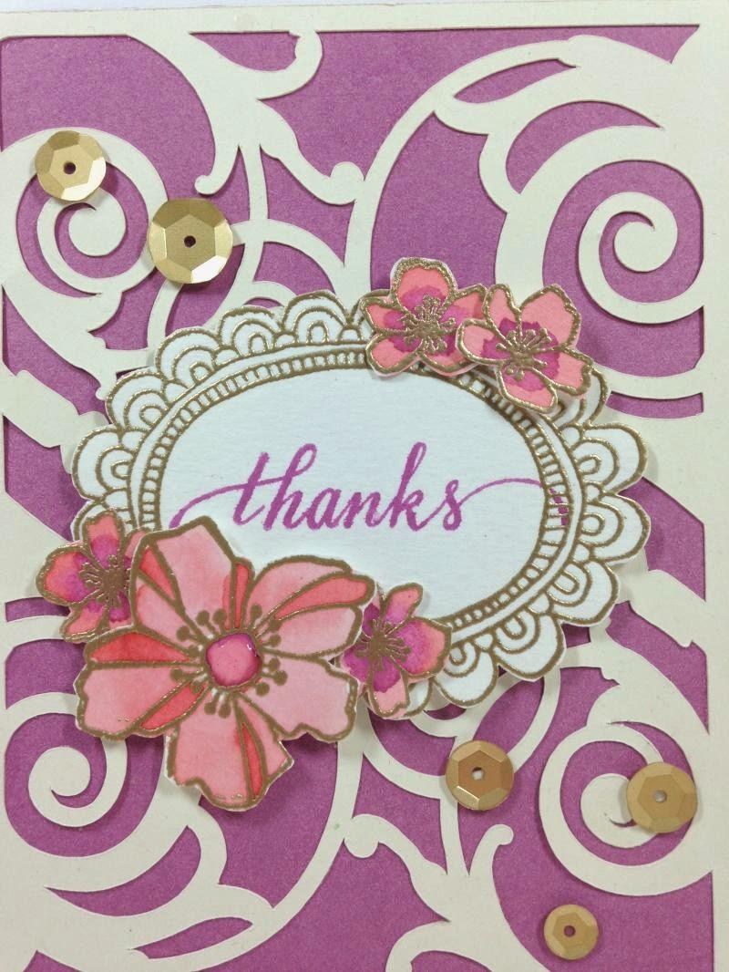 Cricut Watercolor Flower Card closeup