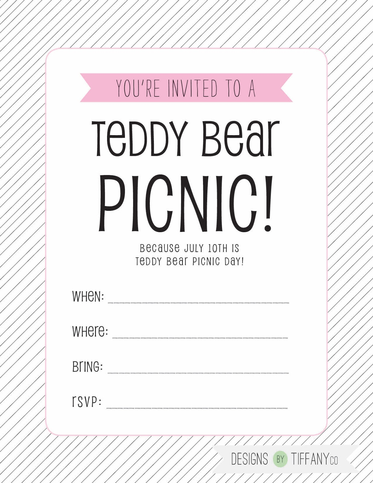 Free Printable July 10th is Teddy Bear Picnic Day Designs by – Teddy Bears Picnic Party Invitations