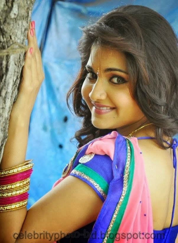 latest+Photo shoot+of+Manochitra+with+a+Hot+Pink+Sari006
